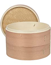 ZhenSanHuan Handwoven Wicker Bamboo/Cedarwood Steamer - 2 Baskets and 1 Lid -cooking for DimSum,dumplings,stuffed bun, Vegetables,meat, Fish, chicken, seafood-Natural, non-toxic