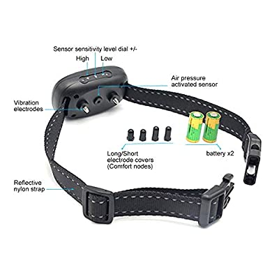 POP VIEW Dog Anti Bark Collar, Small, Medium, Large Dogs, 7 Adjustable Levels with Sound and Vibration, No Shock, Harmless & Humane, Stops Dogs Barking
