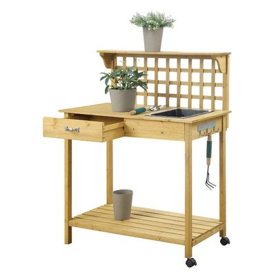 Newdale Wood Potting Bench Spacious Top Workspace, Durable Sink and Large Drawer in Light Oak Finish 47.64'' H x 37'' W x 18'' D by August Grove