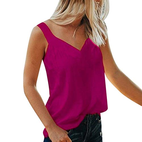 Aunimeifly Women Pure Color Tank Tops Sexy V-Neck Vest Sleeveless Tops Loose Casual Camisole Blouse Hot Pink ()