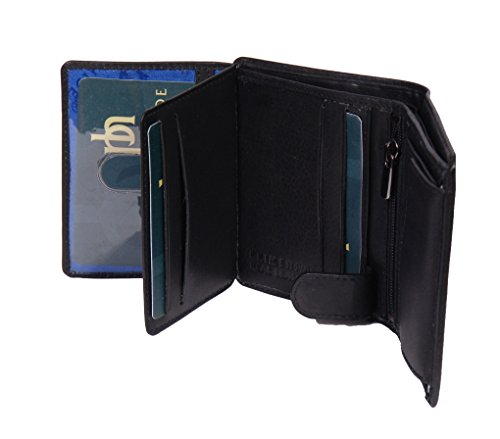Herren Weiche Schwarz Leder Brieftasche Bifold ID Karten Münzen Notizen Sektionen Geschenkbox NEU - Texas
