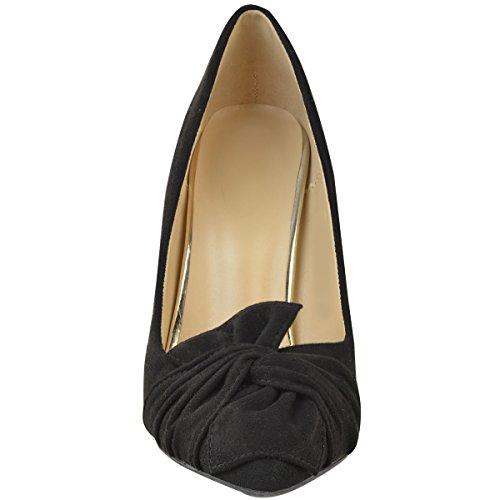 talon à de Escarpins suède décoratif femme noir noeud aiguille soirée faux chaussures 14n5qgw
