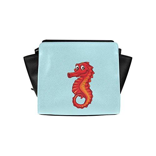 Meincare Women's Red Sea Horse Pu Leather Satchel Bag