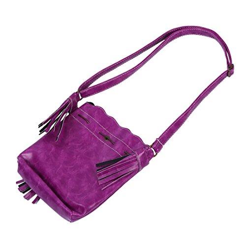 TOOGOO(R) Frauenbeutel Quaste Fashion Eimer Tasche Patchwork Frauen Schulterbeutel Kurierbeutel Frauenhandtasche PU-Leder lila