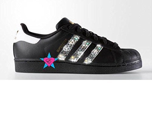 Crystal Glitter Black ORIGINALS SUPERSTAR SHOES by Eshays