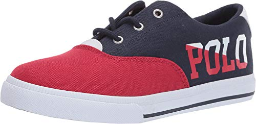 Polo Ralph Lauren Kids Vaughn II Fashion Sneaker (6 M US Big Kid, Navy/Red/White Sailing Print Canvas) (Us Polo By Ralph Lauren)