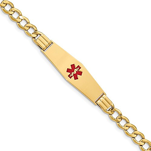 Jewelry Bracelets ID Bracelets 14K Medical Soft Diamond Shape Red Enamel Semi-solid Curb Link ID Bracelet