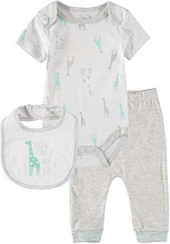 Rene Rofe Baby Boys' and Baby Girls' Bodysuit Pant Set 3-Piece (Light Grey Giraffe, 6-9 Months)