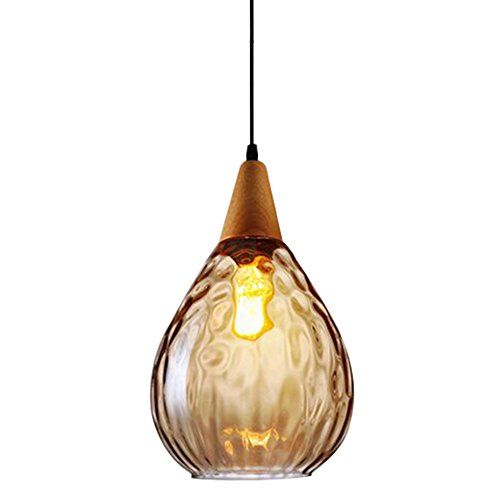 Amber Raindrop Chandelier - Jar Wood Chandelier Swag Light Industrial Glass Pendant Light Mason jar Ceiling Light Kitchen Island Lighting (Amber)