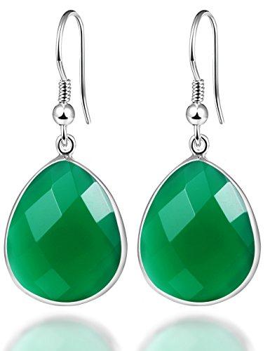 Green Onyx Earrings (Elda&Co 925 Sterling Silver Onyx Teardrop Hook Dangle Green Earrings Gifts for Her)