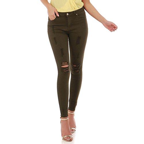La Modeuse - Jeans Skinny Destroy l'avant Kaki