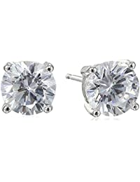 Plated Sterling Silver Cubic Zirconia Stud Earrings (Round & Princess)