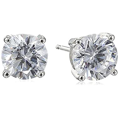 Platinum-Plated Sterling Silver Round-Cut Cubic Zirconia Stud Earrings (2 cttw)