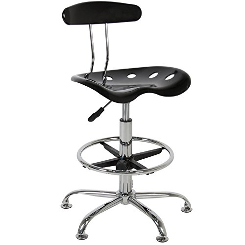 Chair Modern Black Bar Stools Swivel Chrome Drafting ABS Plastic Seat
