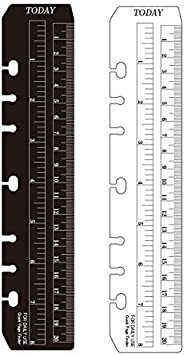 Pack of 2 Chris.W A5 6-Hole Ring Bound Pouch Pagefinder Ruler for Filofax A5 Notebook Clear