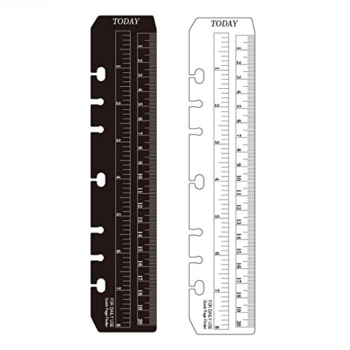 (Chris-Wang 2Pcs Black/Clear Plastic Page Marker Pouch Pagefinder Measuring Today Ruler for A5 Size 6-Hole Binder Notebook)