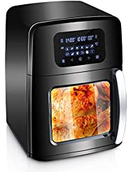 XL Air Fryer Oven with Large Viewing Window, Electric Hot Deep Fryer Combine with Food Dehydrator, 12 Pre-Set Digital Programs, LED Touchscreen, 7-Piece Accessories, Rotisserie, Auto Stirring - 1700W