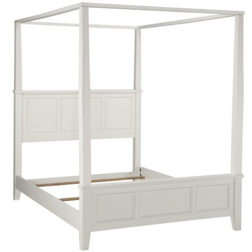 Home Styles Naples White Queen Canopy Bed with Hardwood Solids, Painted White Finish, Raised Panel Details, and Curved Legs