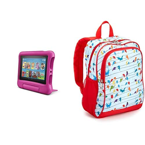 Fire 7 Kids Tablet 32GB Pink with Made for Amazon Kids Tablet Backpack, Birds