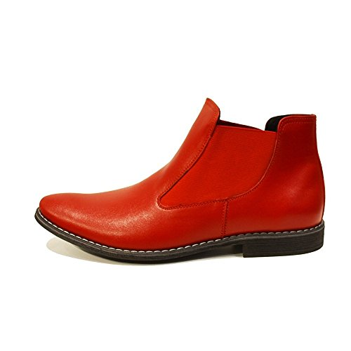 Leather Leather Handmade Red PeppeShoes Rosso Boots Ankle Mens Smooth On Cowhide Italian Modello Chelsea Slip qTnE7wfEI