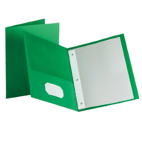 Esselte Oxford Twin-Pocket Portfolio With Fasteners, Gree...