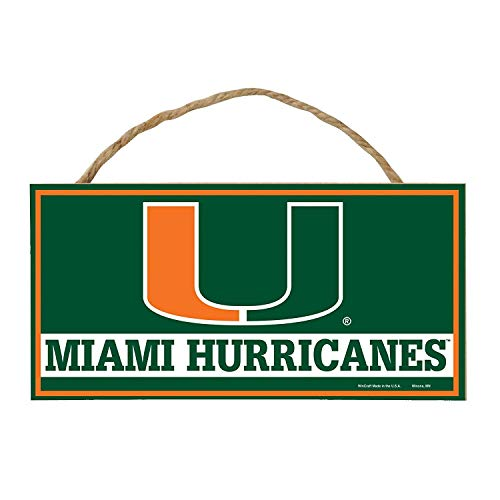 Bek Brands College and University Mascot Wood Sign with Rope Handle, 5 x 10 in (Miami Hurricanes) (Miami Hurricanes Sign)