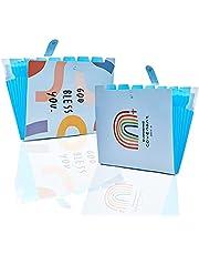 LPRTALK 2-pack expanderande mappar dragspelsdokumentorganisatör, bokstav A4 papper placstisk mapp 8 fickor expanderbara filjackor för skola kontor hem 12 x 9,4 tum