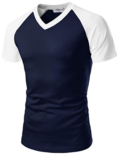 NEARKIN (NKNKRST621) Men V-neck Round Neck Urbane Short Sleeve Raglan Fitted T-shirts NAVYWHITE US M(Tag size L) by NEARKIN