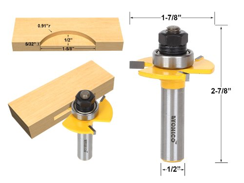 Carbide Tipped Router Bit (Yonico 14182 Biscuit Jointing Router Bit with Number 20 C3 Carbide Tipped 1/2-Inch Shank)