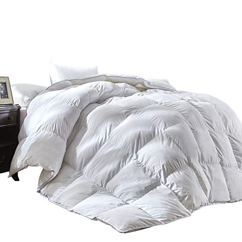Luxury King Size White Goose Down Feather Comforter Duvet Insert Goose Down All Seasons 600 Thread Count Hypoallergenic 100% Cotton Shell Down Proof,Baffle Box Stitched.
