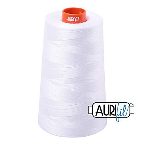 Aurifil 2024 Mako 50 Wt 100% Cotton Thread, 6,452 Yard Cone White -