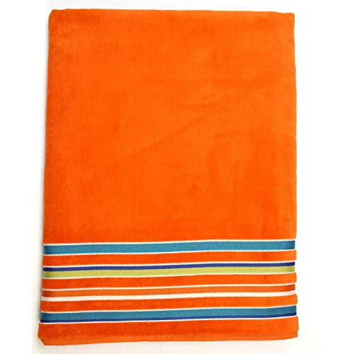 Terry Collection Siesta Stripe Beach Towel - Thick, Plush, Luxurious 100% Cotton Velour - Heavyweight and Super-Sized, 40 inches x 70 inches - Made in Brazil (Orange)