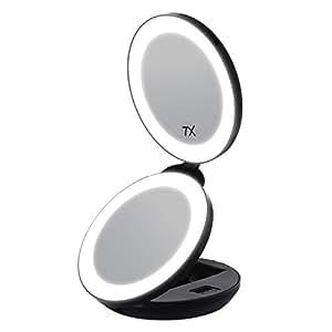 Amazon Com Songmics Led Lighted Travel Makeup Mirror 1x