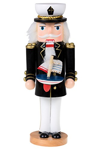 "Clever Creations Traditional Wooden Sailor Nutcracker with a Boat Festive Christmas Decor | Nautical Theme | 10"" Tall Captain Perfect for Shelves and Tables"