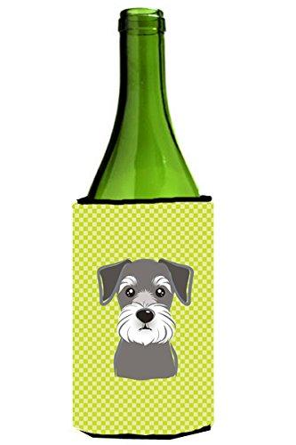 Checkerboard Lime Green Schnauzer Wine Bottle Beverage Insulator Hugger BB1268LITERK