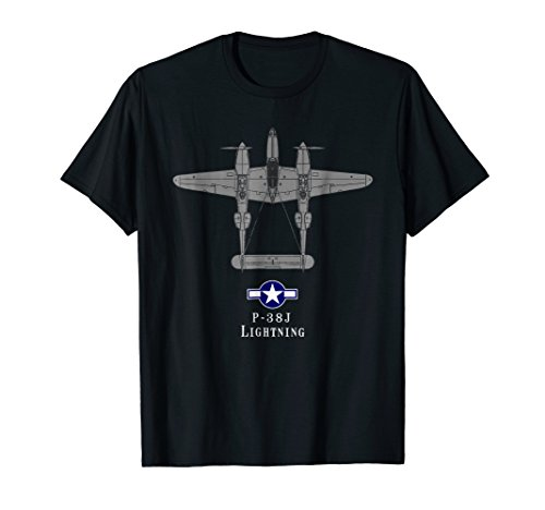 (P-38 Lightning Tech Drawing WWII Fighter Airplane T-shirt)