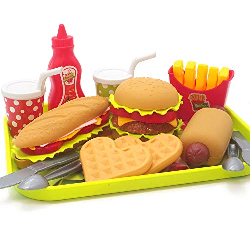 U DREAM Pretend Play Food Set , Removable Food Toys Burger Combo and Assortment ()