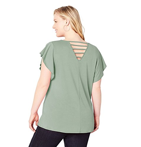 Back Flutter Top, 30/32 Olive (Avenue Denim Skirt)