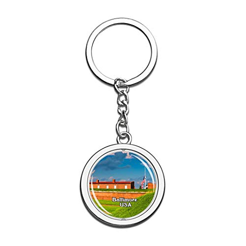 USA United States Keychain Fort McHenry National Monument Baltimore Key Chain 3D Crystal Spinning Round Stainless Steel Keychains Travel City Souvenirs Key Chain -