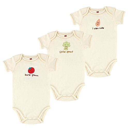 Touched by Nature Baby Organic Short Sleeved Bodysuit 3 Pack, Tomato, 6-9 Months