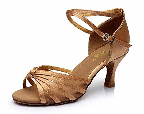 YFF Neue Women's Ballroom Latin Tango Schuhe 5 cm und 7 cm hohem Absatz,beige 1 7 cm,6.