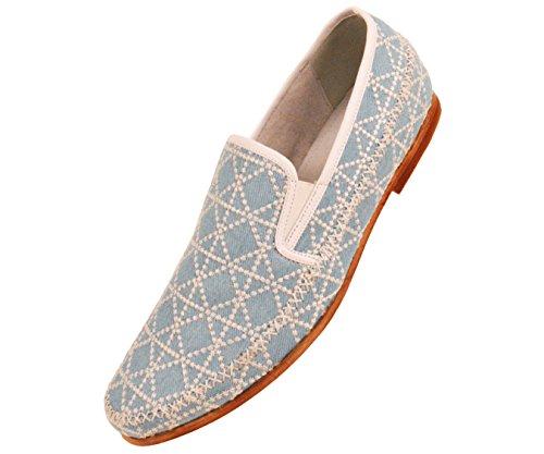 Amaliene Mens Kle Tilfeldige Loafers I Vevet Brodert Design Woodlike Såle Stiler Trey, Felle, Harmon Sky / Denim