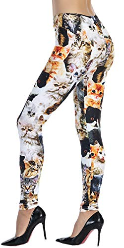 Ndoobiy Women's Printed Leggings Full-Length Regular Size Yoga Workout Leggings Pants Soft Capri L1(Many cat -