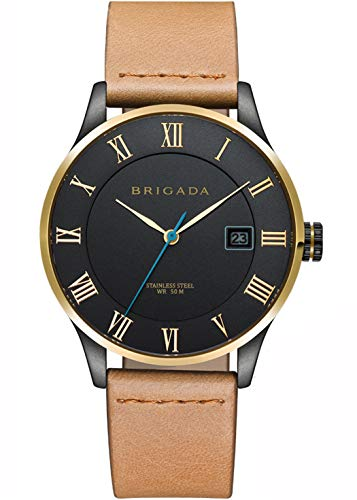 Black Nice Fashion Minimalist Watches for Men on Sale Clearance, BRIGADA Swiss Brand Business Casual Quartz Wrist Men Watch Waterproof