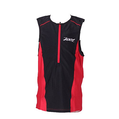 ZOOT Men's Active Tri Mesh Tank Top, Black/Race Day Red, - Race Belt Tri