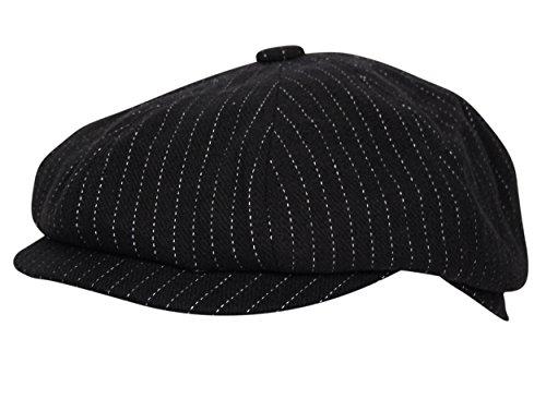 Black Pinstripe Hat (Itzu Baker Boy Newsboy Flat Cap Hat Gatsby 8 Panel Ear Flap Pinstripe Black)