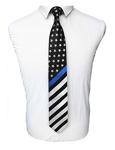 JEMYGINS Mens Thin Blue Line Flag Tie USA Patriotic Necktie (Thin Mens Necktie)