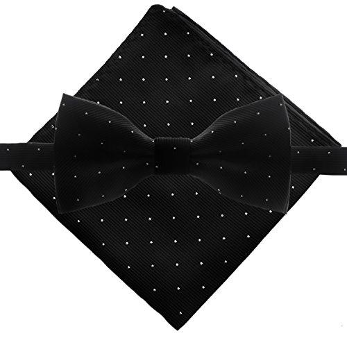 Men's Polka Dot Bowtie & Pocket Square Set - - Tie Oversized Black Bow
