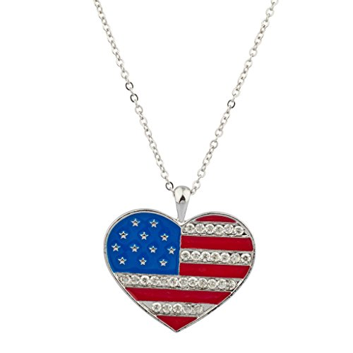 Lux Accessories USA Americana 4th of July American Pride Red White Blue Pave Stars & Stripes Heart Pendant Necklace