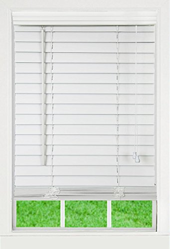 Corded, 2 inch Faux Wood Blind,  White, 70W x 64L